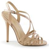 Beige 13 cm Pleaser AMUSE-13 sandalen met naaldhak