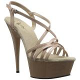 Beige 15 cm Pleaser DELIGHT-613 Sandalen met hoge hakken