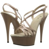 Beige 15 cm Pleaser DELIGHT-613 Womens High Heel Sandals