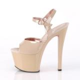 Beige 18 cm SKY-309TT pleaser sandalen met goud zolen