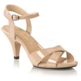 Beige 8 cm Fabulicious BELLE-315 sandalen met lage hak