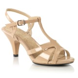 Beige 8 cm Fabulicious BELLE-322 sandalen met lage hak
