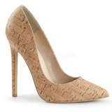 Beige Cork 13 cm SEXY-20 Women Pumps Shoes Flat Heels