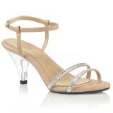 Beige Glitter 8 cm BELLE-316 Dames Sandalen met Hak