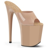 Beige Jelly-Like 20 cm FLAMINGO-801N Exotic stripper high heel mules