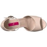 Beige Kunstleer 12,5 cm EVE-02 grote maten sandalen dames