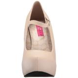 Beige Kunstleer 13,5 cm CHLOE-02 grote maten pumps schoenen