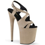 Beige Kunstleer 20 cm FLAMINGO-831FS sandalen met naaldhak