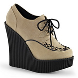 Beige Kunstleer CREEPER-302 wedge creepers schoenen sleehakken