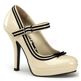 Beige Lak 12 cm PINUP SECRET-15 Mary Jane Plateau Pumps Hoge Hak