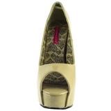 Beige Lak 14,5 cm Burlesque TEEZE-22 Pumps Schoenen met Naaldhakken