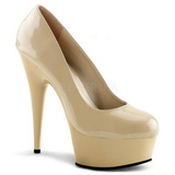 Beige Lak 15 cm Pleaser DELIGHT-685 Plateau Pumps Hoge Hak