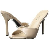 Beige Lakleer 10 cm CLASSIQUE-01 grote maten mules schoenen