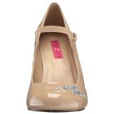 Beige Lakleer 10 cm QUEEN-02 grote maten pumps schoenen