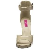 Beige Lakleer 12,5 cm EVE-02 grote maten sandalen dames