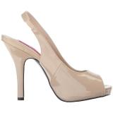 Beige Lakleer 12,5 cm EVE-04 grote maten sandalen dames
