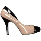 Beige Lakleer 12,5 cm EVE-07 grote maten pumps schoenen