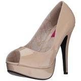 Beige Lakleer 13,5 cm CHLOE-01 grote maten pumps schoenen