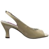 Beige Lakleer 7,5 cm JENNA-02 grote maten sandalen dames
