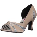 Beige Lakleer 7,5 cm JENNA-03 grote maten pumps schoenen