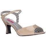 Beige Lakleer 7,5 cm JENNA-09 grote maten sandalen dames