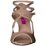 Beige Lakleer 7,5 cm KIMBERLY-04 grote maten sandalen dames