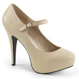 Beige Leatherette 13,5 cm CHLOE-02 big size pumps shoes