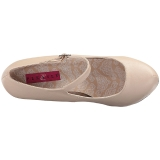 Beige Leatherette 13,5 cm CHLOE-02 big size pumps shoes