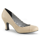 Beige Leatherette 7,5 cm JENNA-01 big size pumps shoes