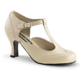 Beige Matte 7,5 cm FLAPPER-26 Women Pumps Shoes Flat Heels