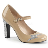 Beige Patent 10 cm QUEEN-02 big size pumps shoes