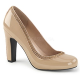 Beige Patent 10 cm QUEEN-04 big size pumps shoes