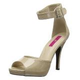 Beige Patent 12,5 cm EVE-02 big size sandals womens