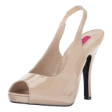 Beige Patent 12,5 cm EVE-04 big size sandals womens