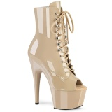 Beige Patent 18 cm ADORE-1021 womens platform soled ankle boots