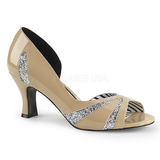 Beige Patent 7,5 cm JENNA-03 big size pumps shoes