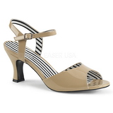 Beige Patent 7,5 cm JENNA-09 big size sandals womens