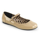 Beige Patent ANNA-02 big size ballerinas shoes