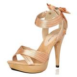 Beige Satijn 13 cm COCKTAIL-568 Sandalen met Hoge Hak