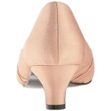 Beige Satijn 5 cm FAB-422 grote maten pumps schoenen
