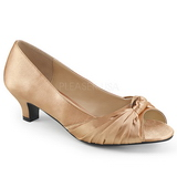 Beige Satin 5 cm FAB-422 big size pumps shoes
