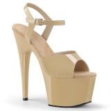 Beige Shiny 18 cm ADORE-709 High Heels Platform