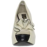 Beige Suede 13,5 cm LOLITA-10 Plateau Pumps Open Teen