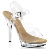 Beige Transparent 13 cm LIP-108 Platform High Heels Shoes