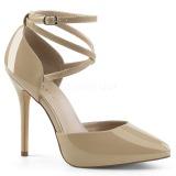 Beige Varnish 13 cm AMUSE-25 High Heeled Evening Pumps Shoes