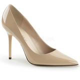 Beige Varnished 10 cm CLASSIQUE-20 pointed toe stiletto pumps