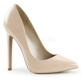 Beige Varnished 13 cm SEXY-20 Women Pumps Shoes Flat Heels