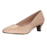 Beige Varnished 5 cm FAB-420W Women Pumps Shoes Flat Heels