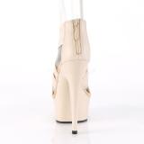 Beige elastische band 15 cm DELIGHT-669 pleaser schoenen met hak