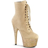 Beige glitter 18 cm ADORE-1020FSMG Exotic pole dance ankle boots